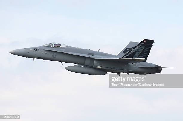 An F-18C Hornet of the Swiss Air Force armed with AIM-120 AMRAAM during exercise ELITE, Germany.