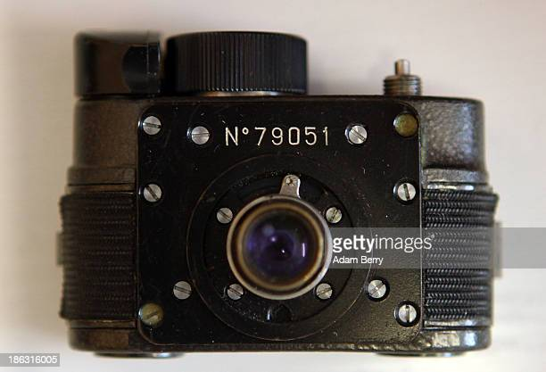 An F21 'Ammer' spy camera is displayed at the Stasi or East German Secret Police Museum on October 30 2013 in Berlin Germany German officials have...