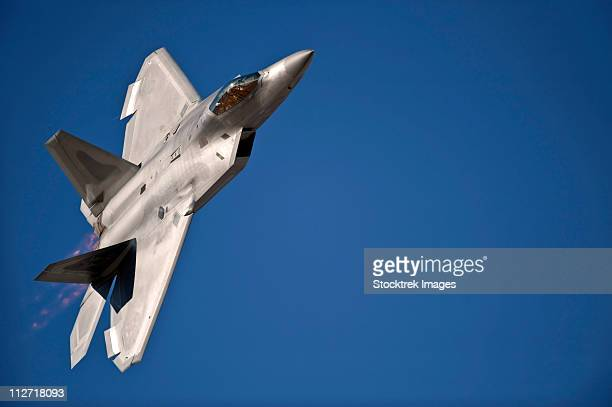 An F-22 Raptor aircraft performs during Aviation Nation 2010.