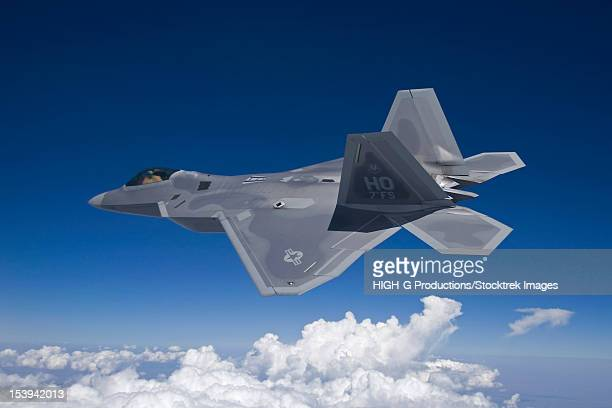 An F-22 Raptor flies around Southern New Mexico on a training mission out of Holloman Air Force Base, New Mexico