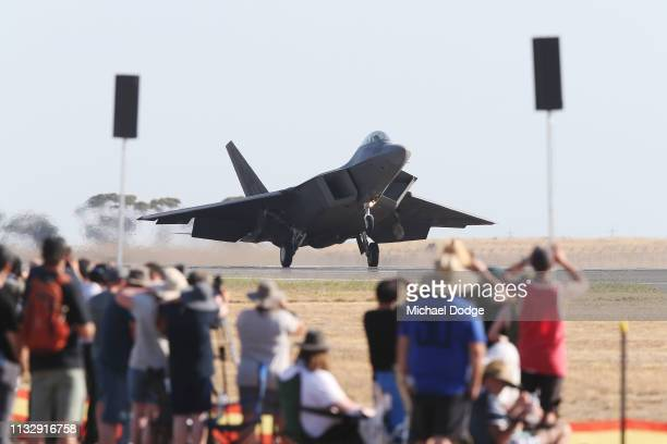An F22 Raptor lands at Avalon Airport on March 01 2019 in Melbourne Australia The 2019 Australian International Airshow will be open to the public...