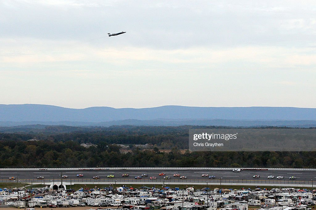 An F-22 Raptors flys over the track prior to the NASCAR Sprint Cup Series Good Sam Club 500 at Talladega Superspeedway on October 23, 2011 in Talladega, Alabama.