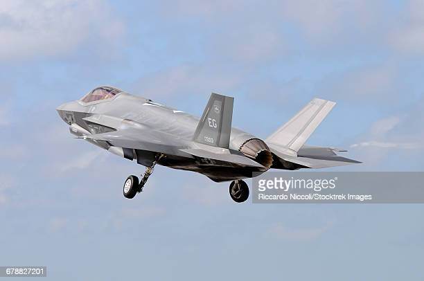 An F-35A taking off from Eglin Air Force Base, Florida.