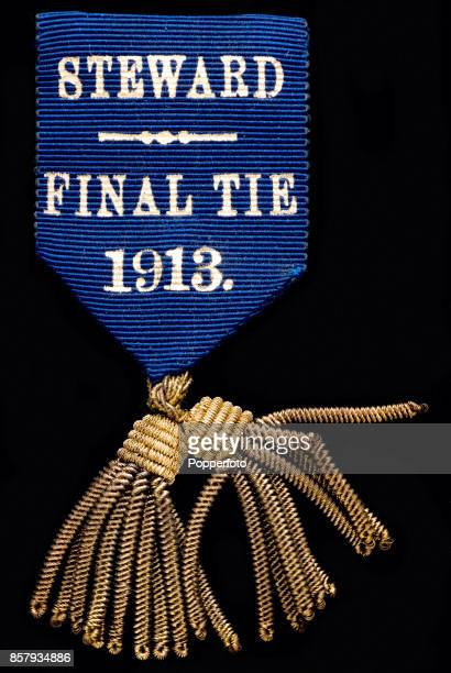 An FA Cup Final steward's badge for the match between Aston Villa and Sunderland at the Crystal Palace in London on 19th April 1913. Aston Villa won...