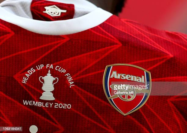 An FA Cup logo is seen on an Arsenal shirt during the Heads Up FA Cup Final match between Arsenal and Chelsea at Wembley Stadium on August 01, 2020...