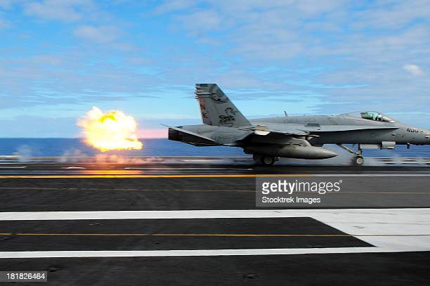 An F/A-18C Hornet launches from the aircraft carrier USS Ronald Reagan.