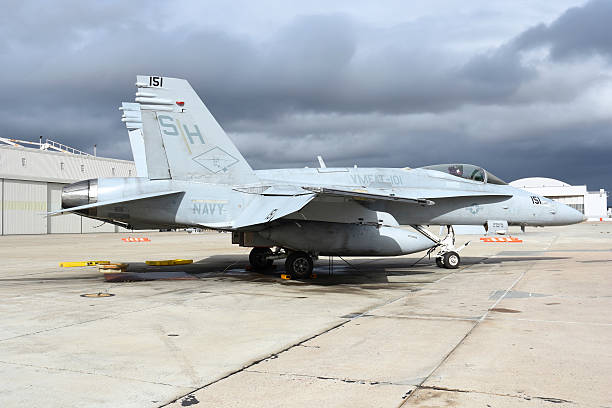 An F/A-18C Hornet on the ramp at Marine Corps Air Station Miramar.