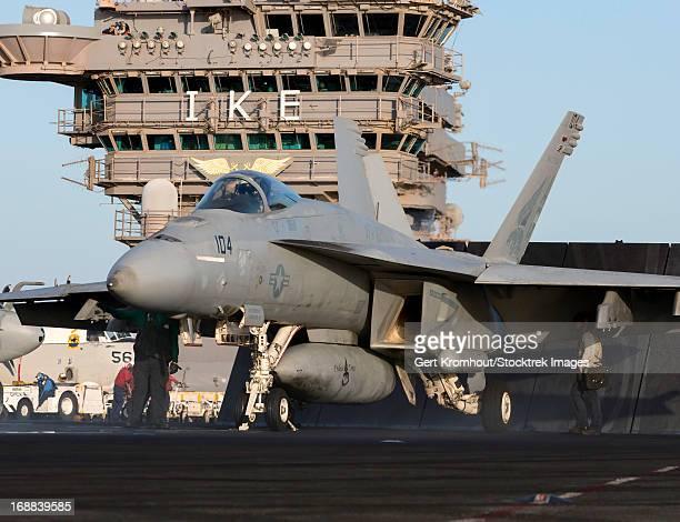 An F/A-18E Super Hornet during flight operations on USS Dwight D. Eisenhower