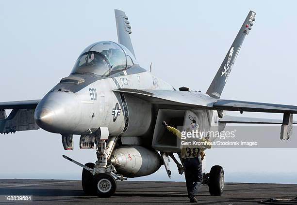 An F/A-18F Super Hornet during flight operations on USS Dwight D. Eisenhower.