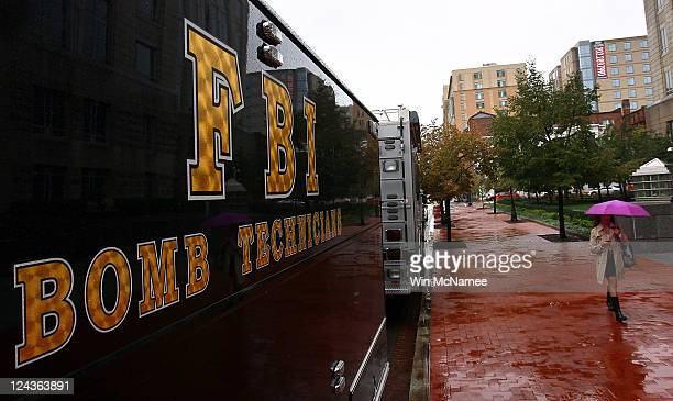 An FBI Bomb Technician vehicle is parked in front of an FBI Building September 9 2011 in Washington DC Security in the nation's capital has increased...