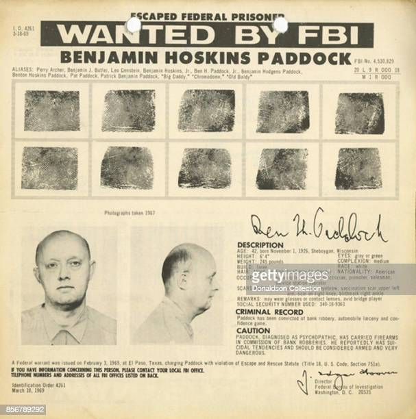 An FBI wanted poster for escaped bank robber Benjamin Hoskins Paddock aka 'Big Daddy' and 'Old Baldy' and father of accused mass murder Stephen...