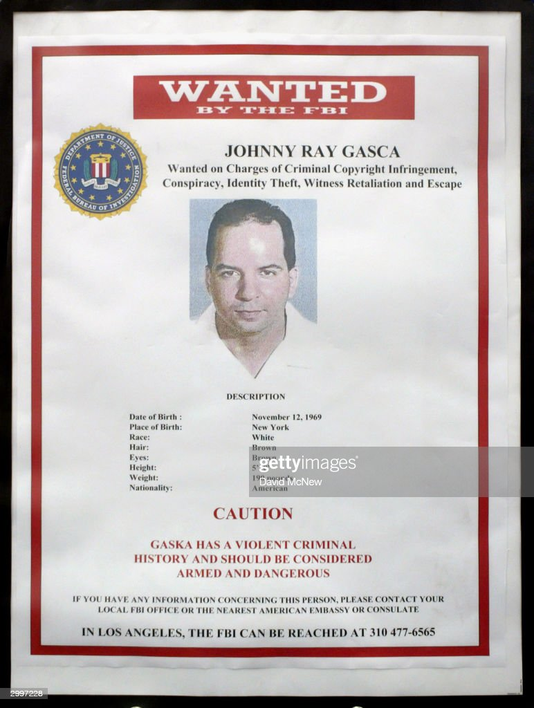 An FBI Wanted Poster For Johnny Ray Gasca Is Seen At A Press Conference To  Unveil  Criminal Wanted Poster