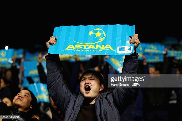 An FC Astana shows his support during the UEFA Champions League match between FC Astana and SL Benfica at the Astana Arena on November 25 2015 in...