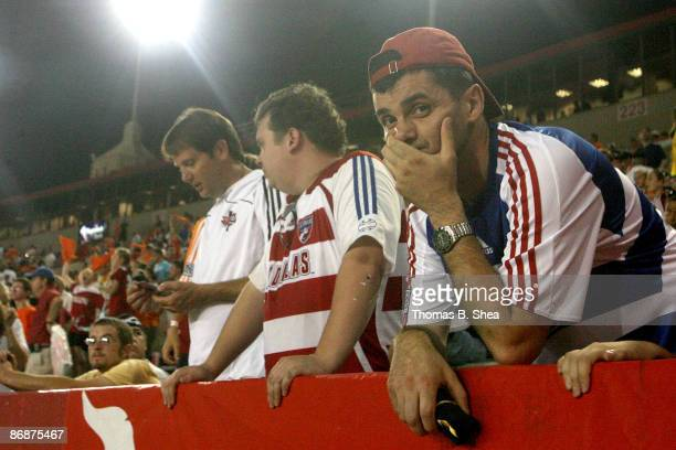 An FC Dallas fan reacts after a loss to the Houston Dynamo at Robertson Stadium on May 9, 2009 in Houston, Texas.