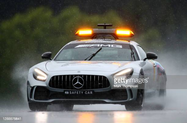 An FIA safety car is seen on track during qualifying for the Formula One Grand Prix of Styria at Red Bull Ring on July 11, 2020 in Spielberg, Austria.