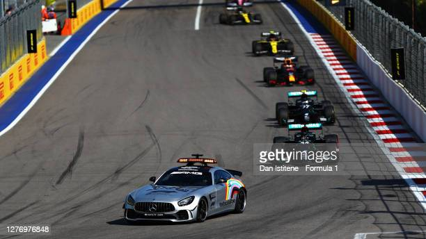 An FIA Safety Car leads the field during the F1 Grand Prix of Russia at Sochi Autodrom on September 27, 2020 in Sochi, Russia.