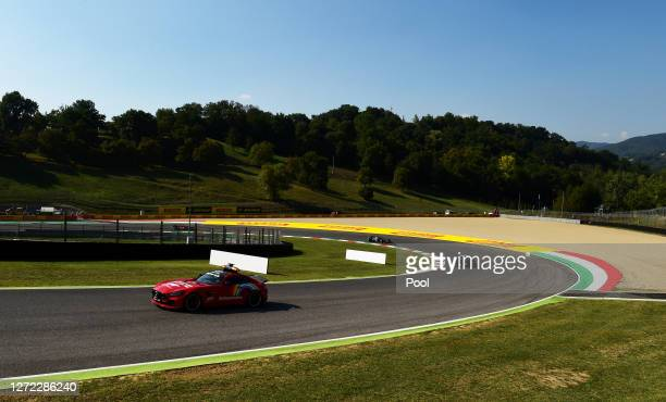 An FIA safety car leads the field during the F1 Grand Prix of Tuscany at Mugello Circuit on September 13 2020 in Scarperia Italy