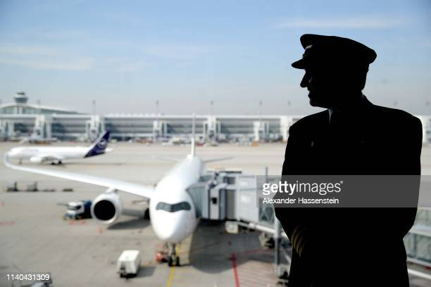 An flight captain is pictured at Airport Munich Franz-Josef-Strauss International on April 03, 2019 in Munich, Germany.