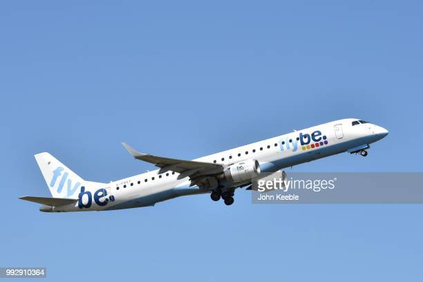 An Flybe Embraer E175 aircraft takes off from Southend airport on July 3 2018 in Southend on Sea England