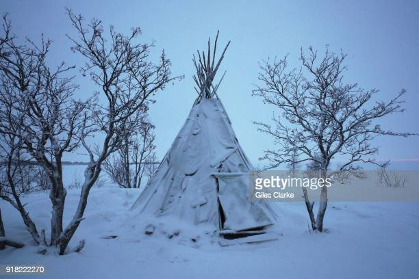 An frozen Indian teepee on a remote sea island off the coast of Kemi Finland