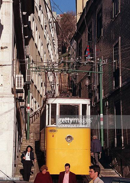 An funicular makes his way in the center of of Lisbon 25 February Expo '98 the last world's fair of the millenium which centers on the theme 'oceans...