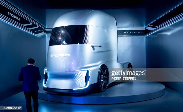 An FVISION concept truck by Ford is on display at the IAA Commercial Vehicles fair on September 19 2018 in Hanover northern Germany According to...