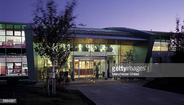 An general exterior view of the front of the Manchester United Academy building at the Trafford Training Ground in Carrington on November 25 2003 in...