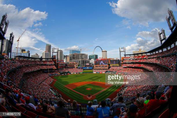 An general view of Busch Stadium during a game between the St. Louis Cardinals and the Atlanta Braves on May 26, 2019 in St Louis, Missouri.