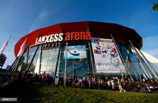 An general view shows the Laxness Arena during the IIHF Ice Hockey World Championships in Cologne western Germany on May 15 2017 / AFP PHOTO / Ina...