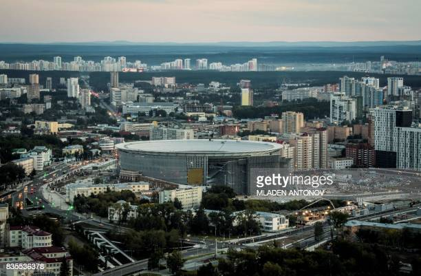 An general view taken on August 19 2017 shows the the Yekaterinburg Arena in Yekaterinburg Yekaterinburg Arena will host several matches during the...