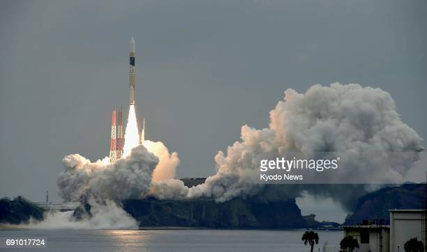 An H2A rocket carrying the quasizenith satellite Michibiki No 2 is launched from the Tanegashima Space Center in Kagoshima Prefecture southwestern...