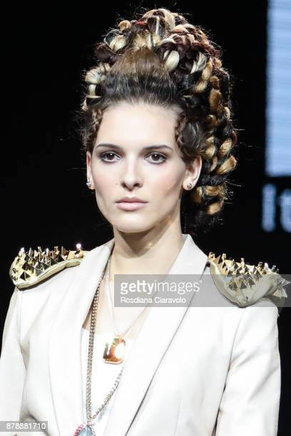 An Hairstyle made by Matteo Susini winner of Italian Hairdresser Award 2017 Avant Garde 2017 is seen at On Hair By Cosmoprof Autumn Edition on...