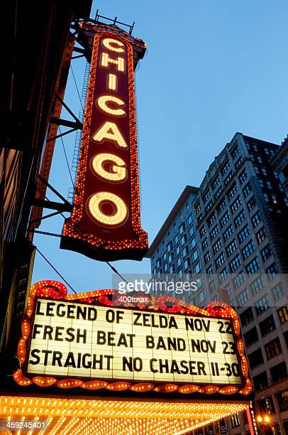 An HDR of the famous Chicago Theater sign at twilight