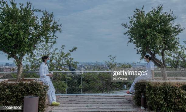 An health workers in Barcelona Spain on April 5 2020 during the Coronavirus emergency