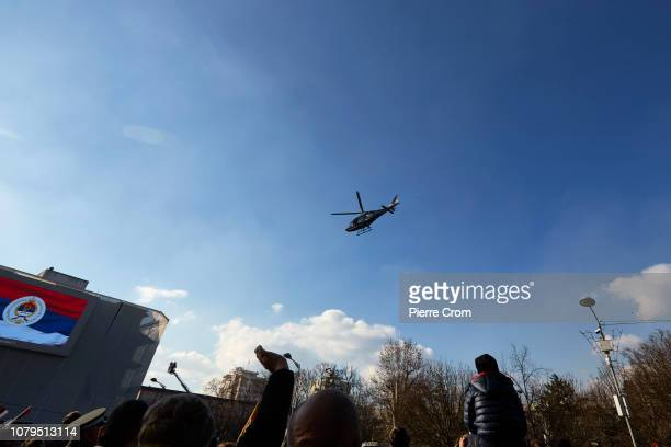 An helicopter of the local polic flies over the center of Banja Luka on January 9 2019 in Banja Luka Bosnia and Herzegovina Republika Srpska the...
