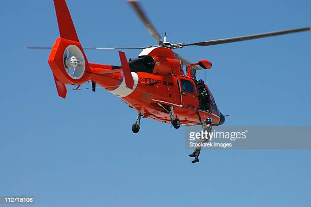 an hh-65c dolphin demonstrates a helicopter rescue. - coast guard stock pictures, royalty-free photos & images