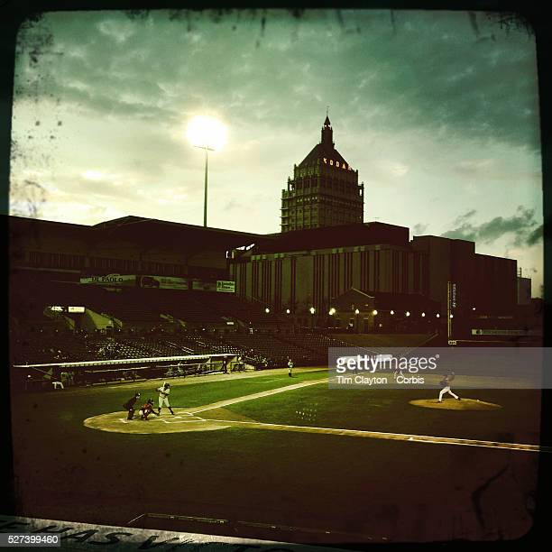 An Hipstamatic photograph taken with an iPhone of Frontier Field showing the Kodak building in the background during the Rochester Red Wings V The...