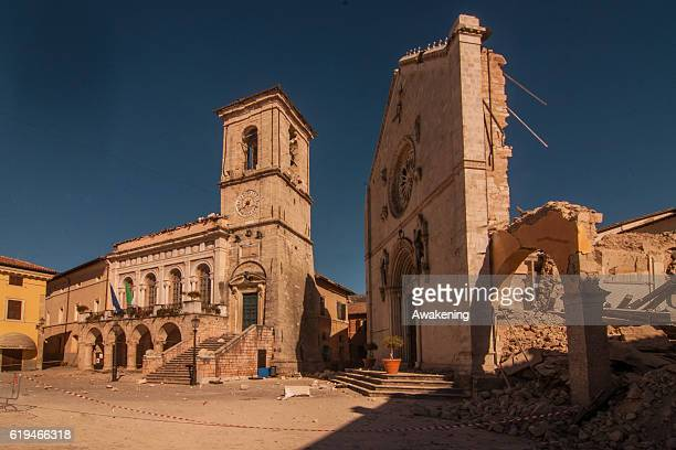 An historic building of the city centre of Norcia was destroyed by the earthquake on October 31, 2016 in Perugia, Italy. A 6.6 magnitude earthquake...
