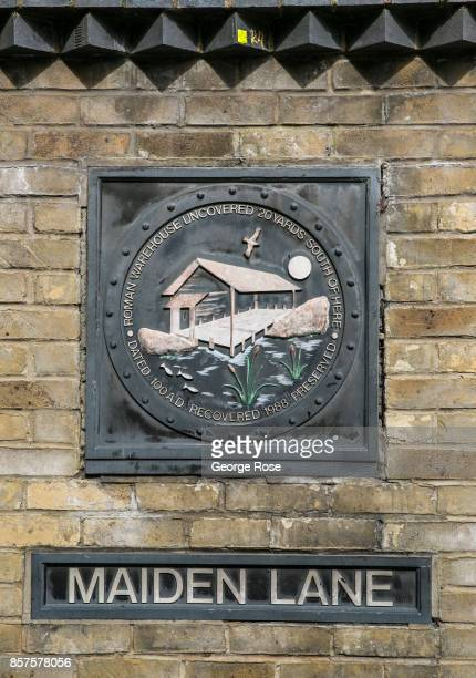 An historic marker on Maiden Lane located near Borough Market identifies early Roman ruins on September 13 in London England Great Britain's move...