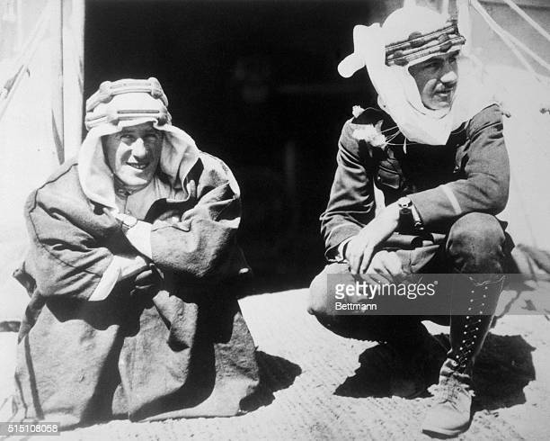 An historic photo taken in the autumn of 1917 shows Lawrence of Arabia with Lowell Thomas at Lawrence's headquarters near Acava in Arabia Lowell...