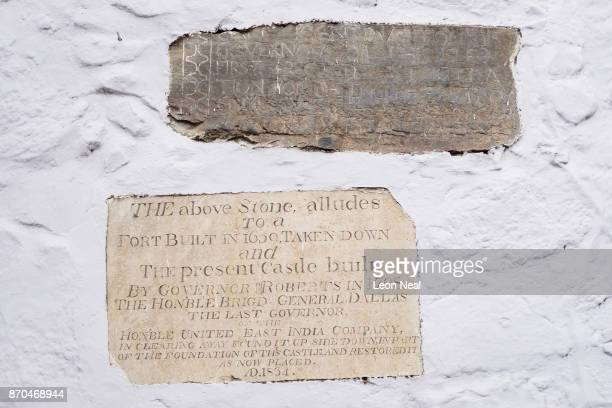 An historic stone from an early fortification is seen in a wall on October 24 2017 in Jamestown Saint Helena Following the introduction of weekly...