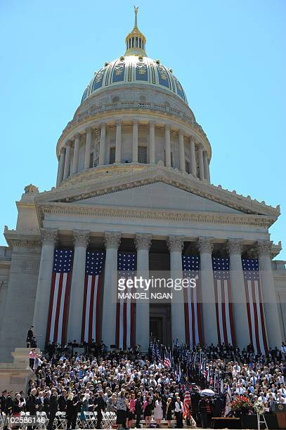 An honor guard carries the casket of US Senator Robert Byrd following a memorial service on July 2, 2010 at the West Virginia State Capitol in...