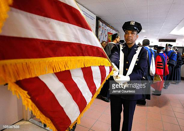 An Honor Guard leads New inductee's into the auditorium prior to the induction ceremony at the 3rd Pi Eta Kappa Honor Society Induction Ceremony at...