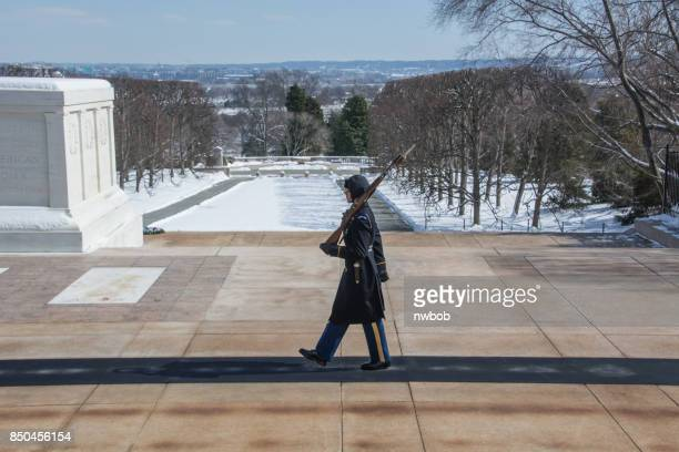 an honor guard marches in the bitter cold at the tomb of the unknown soldier - tomb of the unknown soldier arlington stock photos and pictures
