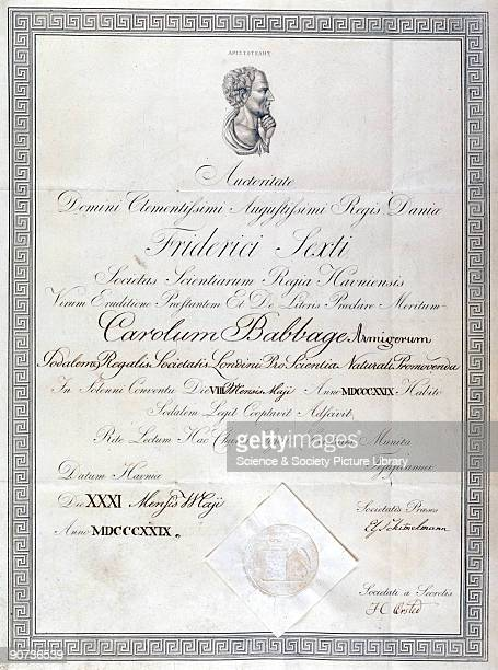 An honorary diploma awarded to Charles Babbage on 31 May 1829 bearing a portrait bust of Aristotle Babbage was a British computing pioneer...