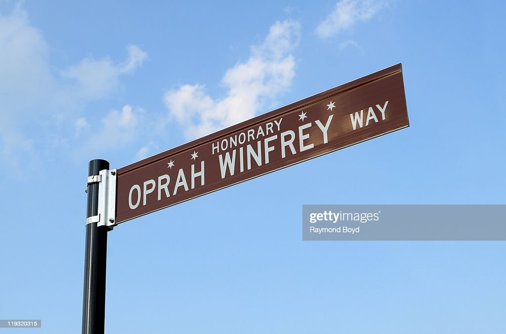 An Honorary street sign for Oprah Winfrey sits outside Harpo Studios in Chicago, Illinois on JULY