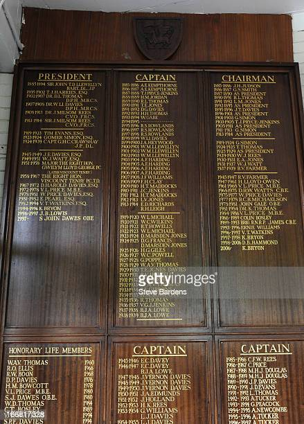 An honours board inside the London Welsh clubhouse at Old Deer Park on April 17 2013 in Richmond England