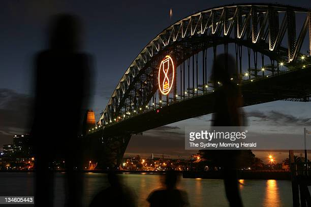 An hour glass lights up the Sydney Harbour Bridge on New Year's Day after a fireworks display themed 'The Time of Our Lives' lit up the Sydney sky on...