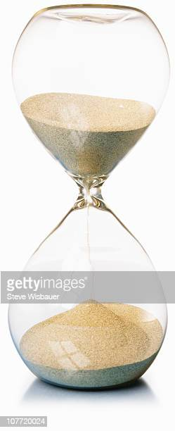 An hourglass running out of time