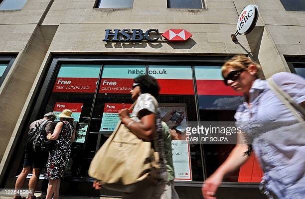 An HSBC bank branch is pictured in central London on August 1 2011 HSBC will slash 30000 jobs worldwide over the next two years as part of a major...